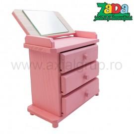 Caseta roz cu 3 sertare si oglinda